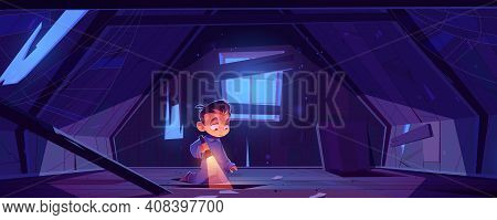 Kid In Abandoned House Attic At Night, Little Boy In Pajama With Flashlight Explore Old Mansard Room