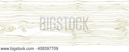 Dense Thin Lines Pattern White Background With Light Golden Vein. Wood Grain Texture. Seamless Tree