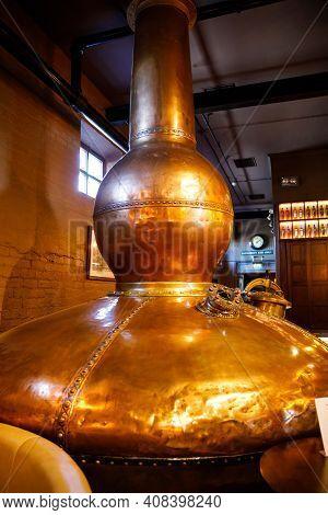 Bushmills, Ireland - July 7, 2019: Interior And Bar Of Old Bushmills Distillery, County Antrim, Nort