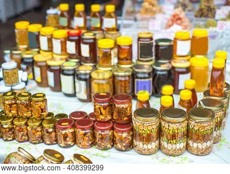 Pickled Delicacies At Kotor's Farmers Market,kotor,montenegro.