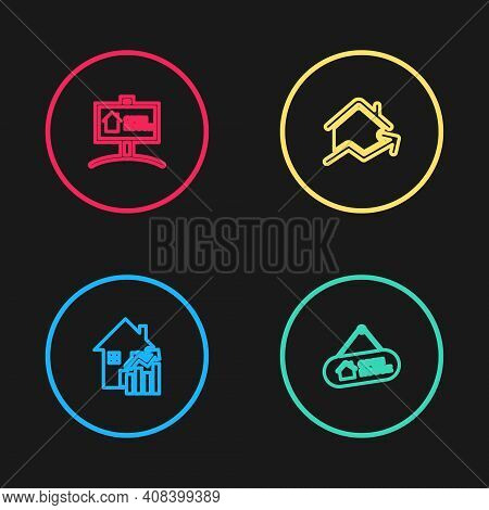 Set Line Rising Cost Of Housing, Hanging Sign With Open House, And Icon. Vector