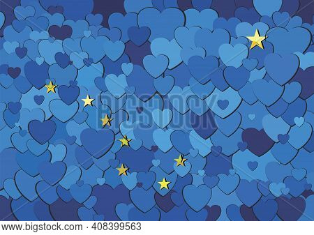 Alaska Flag Made Of Hearts Background - Illustration,  Abstract Mosaic Flag Of Alaska