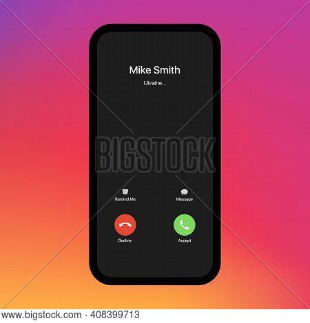 Call Screen. Interface. Accept Button, Decline Button. Incoming Call. Call Screen Template. Smartpho