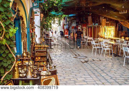 Mahdia, Tunisia - September 29, 2019: One Of Beautiful Streets Of Medina In Mahdia. Tunisia. Traditi