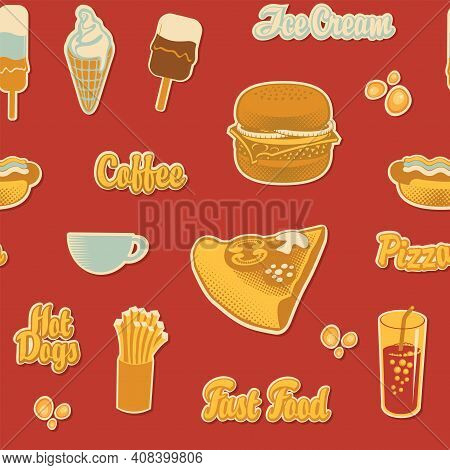 Seamless Pattern With Pizza, Burger, French Fries, Ice Cream, Cola, Coffee And Hot Dog On A Red Back