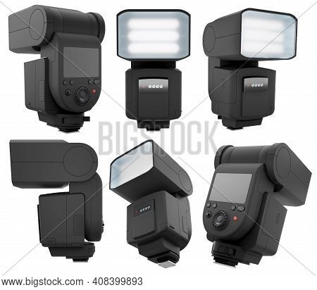 Camera External Flash Speedlight Isolated On White Background With Clipping Path. 3d Rendering And I