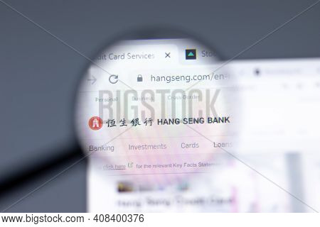 New York, Usa - 15 February 2021: Hang Seng Bank Website In Browser With Company Logo, Illustrative