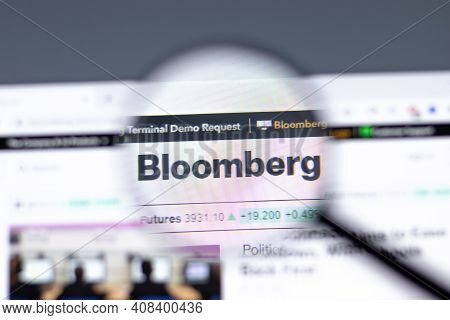New York, Usa - 15 February 2021: Bloomberg Website In Browser With Company Logo, Illustrative Edito