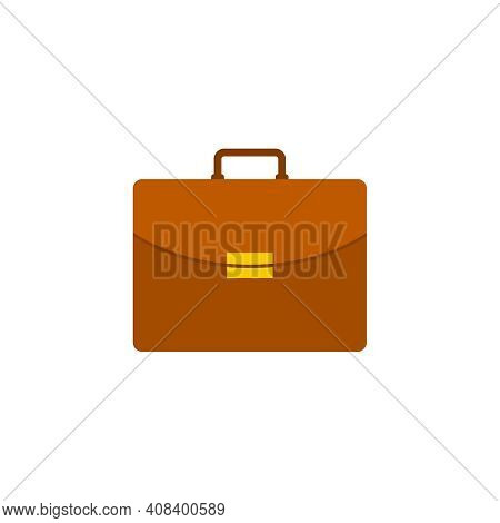 Briefcase Vector Icon In Flat Style On White Background. Business Concept, Work.