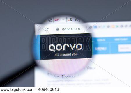 New York, Usa - 15 February 2021: Qorvo Website In Browser With Company Logo, Illustrative Editorial
