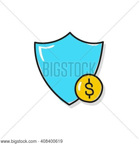 Vector Hand Drawn Shield And Gold Coin Icon. Money Protection Concept.