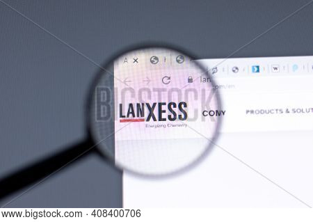 New York, Usa - 15 February 2021: Lanxess Website In Browser With Company Logo, Illustrative Editori