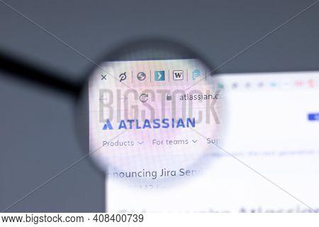 New York, Usa - 15 February 2021: Atlassian Website In Browser With Company Logo, Illustrative Edito