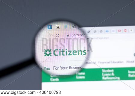New York, Usa - 15 February 2021: Citizens Financial Website In Browser With Company Logo, Illustrat