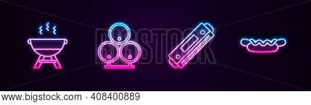 Set Line Barbecue Grill, Wooden Barrels, Harmonica And Hotdog Sandwich. Glowing Neon Icon. Vector