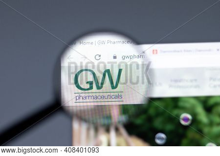 New York, Usa - 15 February 2021: Gw Pharmaceuticals Website In Browser With Company Logo, Illustrat