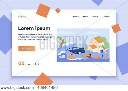 Scary People Drowning In Water Isolated Flat Vector Illustration. Cartoon Submerged Houses, Drowned