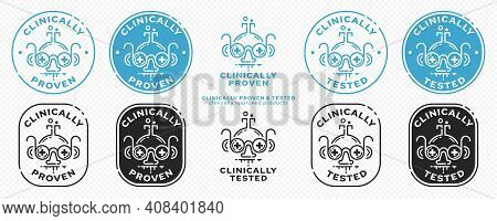 Concept - Clinically Proven - Clinically Tested. The Flask-scientist With Glasses With Medical Cross