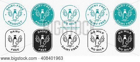 Concept For Product Packaging. Labeling - Dairy Free, Milk Free. A Bottle With Milk And Wings Is A S