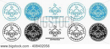Concept - Dermatologically Tested The Flask-scientist With Glasses With Medical Crosses Is A Symbol