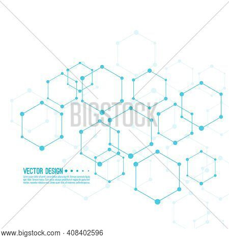 Medical Abstract Background With Particle, Hexagons, Atom, Molecule Structure. Genetic And Chemical