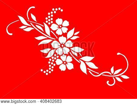 Flower Motif Sketch For Design.floral Seamless Background. Decorative Flower Pattern. Floral Seamles