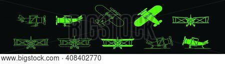 Set Of Biplane Logo Cartoon Icon Design Template With Various Models. Modern Vector Illustration Iso