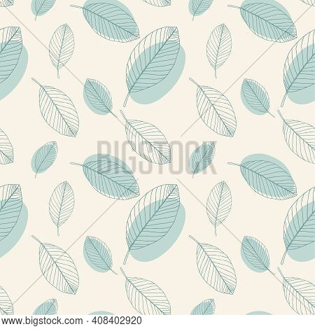 Vector Seamless Pattern. Stylish Floral Background With Hand Drawn Blue Leaves. Texture In Pastel Co