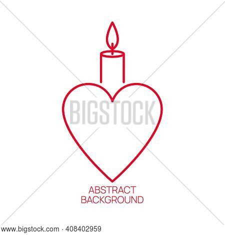 Burning Candle With A Heart On A White Background. Vector Symbol Of Love And Charity.