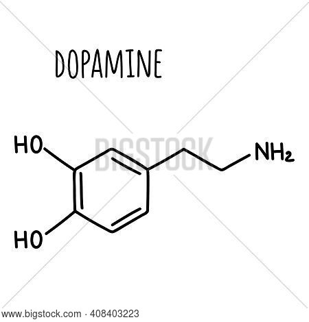 Molecular Structural Chemical Formula Of Dopamine. Vector Hand Drawn Illustration.