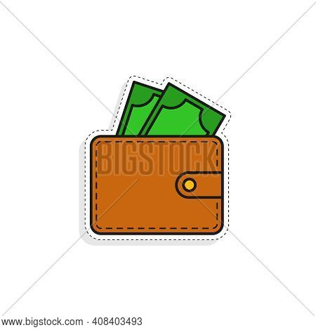 Purse Vector Sticker In Cartoon Style. Hand Drawn Brown Wallet With Green Money Icon On White Backgr