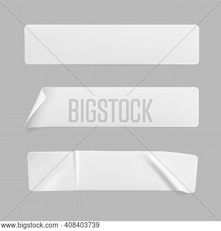 Crumpled White Rectangle Sticker Label Set Isolated. Blank Glued Adhesive Paper Or Plastic Sticker W