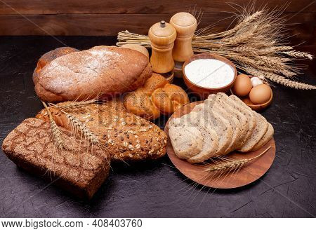 Healthy Bread Assortment. Bakery Products. Various Bread Rolls. Collection Of Grain Bread And Baked