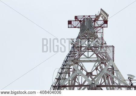 Telecommunication Tower Of 4g And 5g Cellular. Base Station. 5g Radio Network Telecommunications Equ