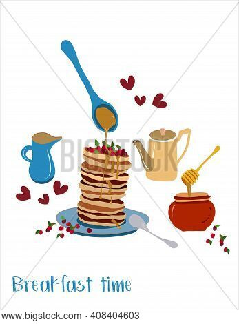 Breakfast Menu With Homemade Pancakes, Cranberries And Honey. Stack Fritters, Cute Wooden Honey Dipp