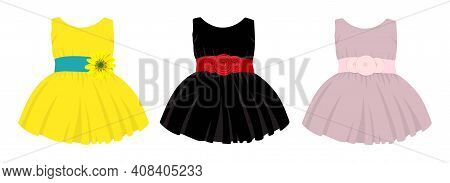 Collection Of Dresses For Babies. Festive Cute Clothes For Little Girls. Vector Illustration Isolate