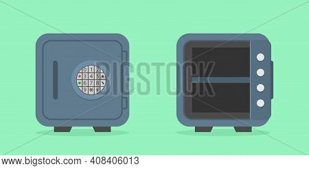 Safe Box. Vault In Bank. Icon Of Open Empty Safe And Close Safe. Metal Door With Security Lock For S