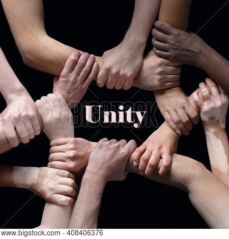 Togetherness, Unity. African And Caucasian Hands Gesturing On Gray Studio Background. Tolerance And