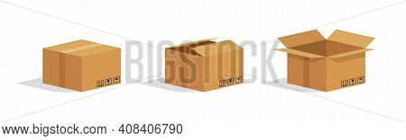 Cardboard Box. Open And Closed Parcel. Isometric Carton Box. Brown Package For Goods. Paper Cube For