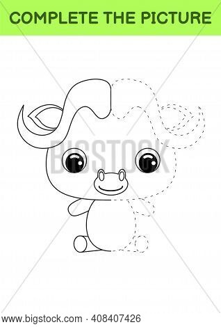 Complete Drawn Picture Of Cute Musk Ox. Coloring Book. Dot Copy Game. Handwriting Practice, Drawing