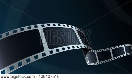 Realistic 3d Film Strip Cinema On Blue Background With Place For Text. Modern 3d Isometric Film Stri