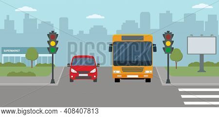 Red Car And Bus Stopped At A Traffic Light. Modern City Life Illustration. Panoramic View. Flat Styl