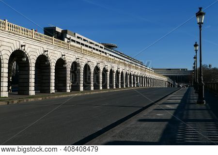 Paris, France. February 14. 2021. View On The Ministry Of Economy And Historic Monument, Aerial Brid
