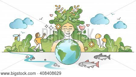 Mother Earth As Environmental, Ecological And Green Planet Outline Concept
