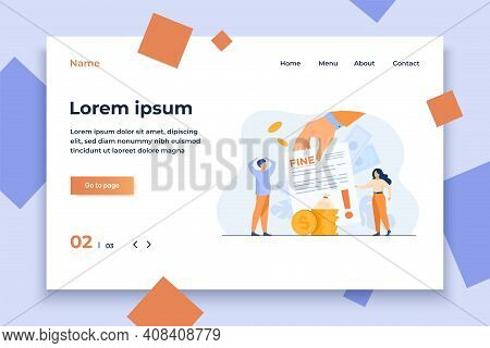Tiny People Getting Paper Sheet With Fine Flat Vector Illustration. Cartoon Characters Paying Traffi