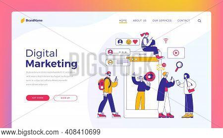 Digital Marketing. Website Banner Landing Page Template. Vector Illustration Of Men And Women Browsi