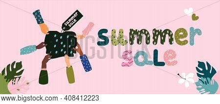 Summer Sale Lettering Concept. Hands In Various Gestures Pull A  Pullover Or Sweatshirt In Different