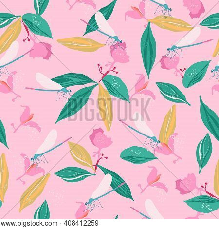 Dragonflies And Medinilla Showy Flowers Seamless Pattern.pink Tropical Bushes,big Leaves With Streak