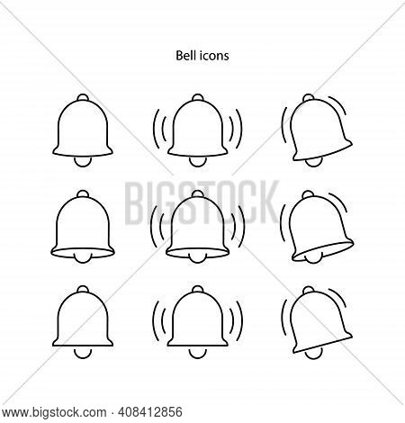 Bell Icon Set On White Background, Message Notification Bell Vector Line Icon For Incoming Inbox