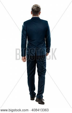 Man In A Business Suit, Businessman Back View. Isolated On A White Background.